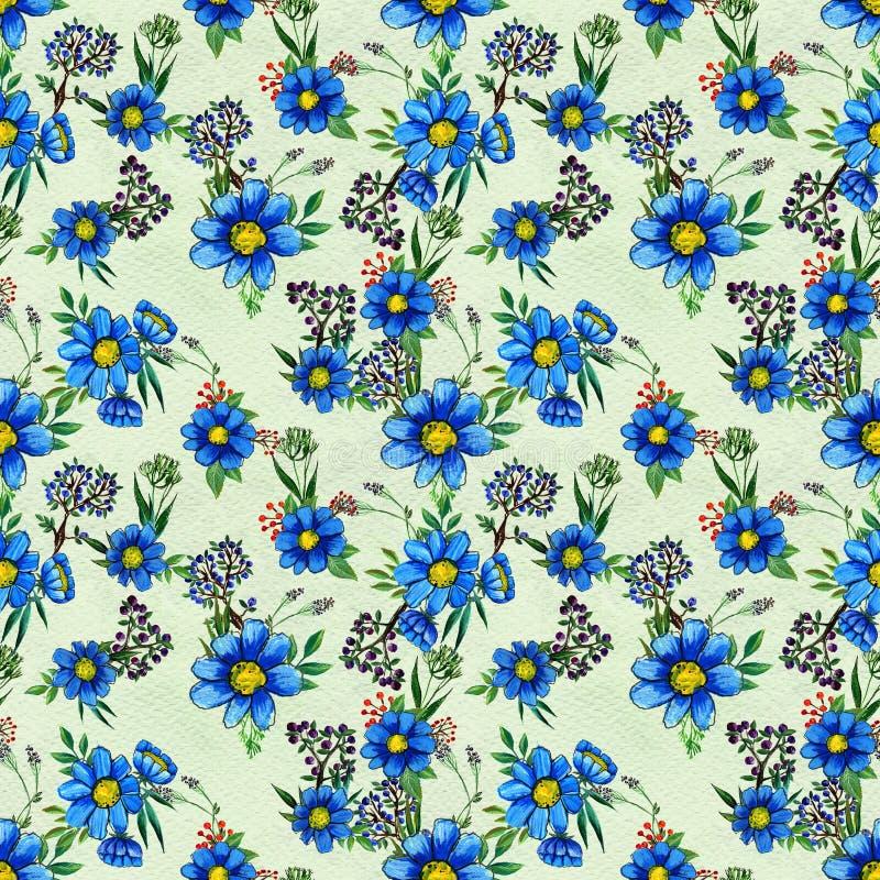 bezszwowy kwiatu błękitny wzór ilustracja wektor