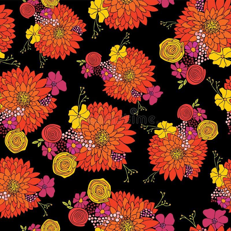 Bezszwowy kwiatu wzoru tła wektor Kwieciści przygotowania z asterem, stokrotką, petunią i chamomile kwiatami, ręka patroszona royalty ilustracja
