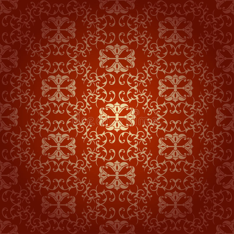 Bezszwowy kwiecisty barokowy czerwony tło royalty ilustracja