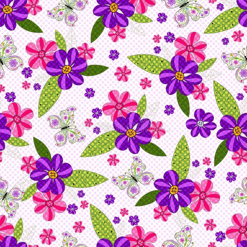 Bezszwowy kwiecisty kropkowany wzór z żywymi kwiatami i motylami royalty ilustracja