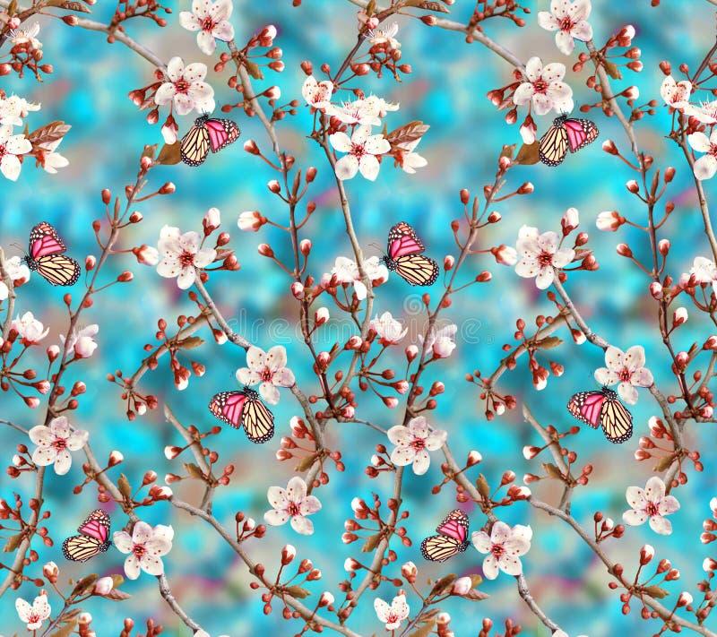 Bezszwowy kwiecisty kwiat z motylem zdjęcie royalty free