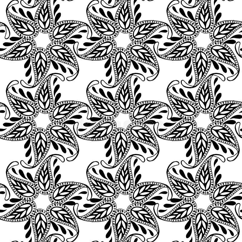 Bezszwowy kwiecisty Paisley wzór Monochromatyczny bezszwowy dekoracyjny ornament Dekoracyjny ornamentu tło dla tkaniny, tkanina ilustracja wektor