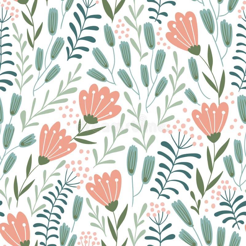 Bezszwowy kwiecisty projekt z pociągany ręcznie dzikimi kwiatami Częstotliwa deseniowa wektorowa ilustracja ilustracja wektor
