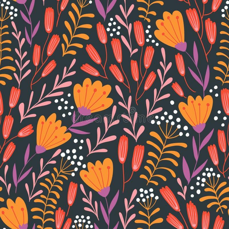 Bezszwowy kwiecisty projekt z pociągany ręcznie dzikimi kwiatami Wektor powtarzający wzór ilustracji