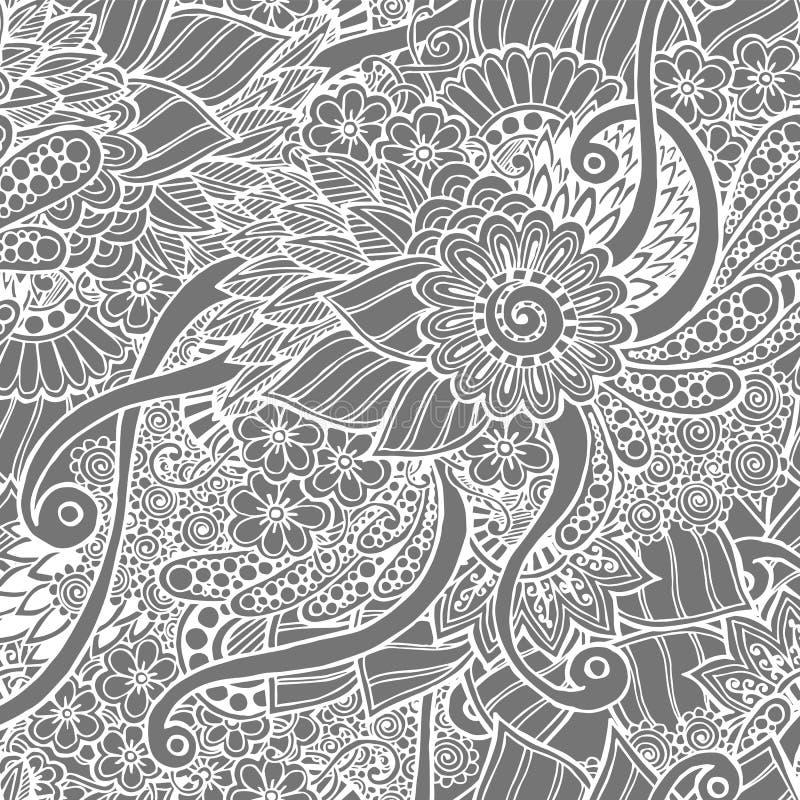 Bezszwowy kwiecisty retro doodle czarny i biały ilustracji
