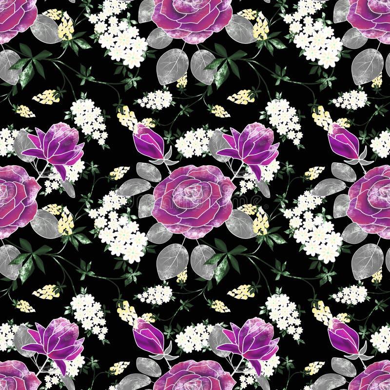 Bezszwowy kwiecisty retro wzór z lilymi różami, biali kwiaty na czerni ilustracji