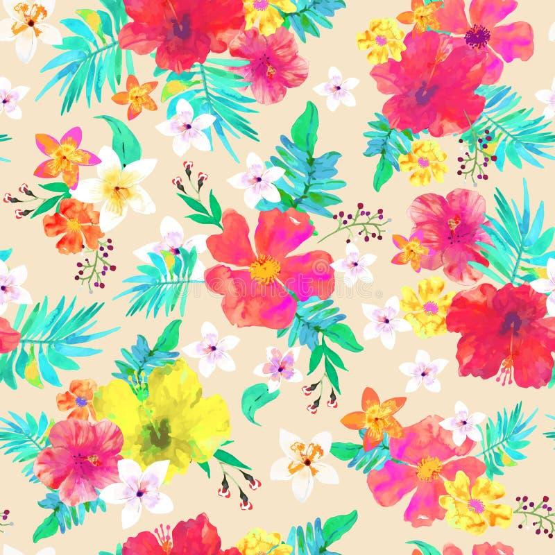 bezszwowy kwiecisty tła kolorowy deseniowy tropikalny wektor royalty ilustracja