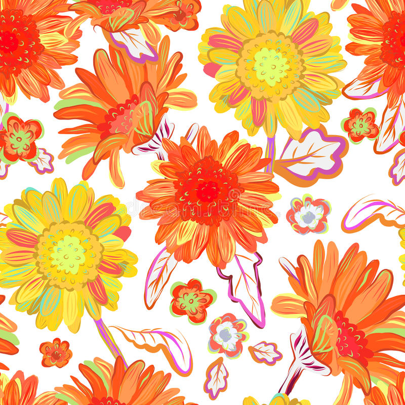 bezszwowy kwiecisty tła Odosobneni czerwoni kolorów żółtych kwiaty wektor royalty ilustracja