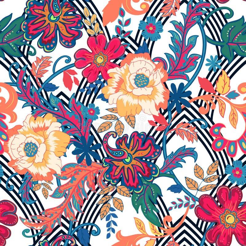 bezszwowy kwiecisty tła Odosobneni kwiaty i liście na geomet ilustracji