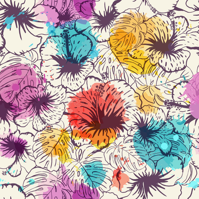 bezszwowy kwiecisty tła Ręka rysujący tropikalny liść i kwiaty ilustracja wektor