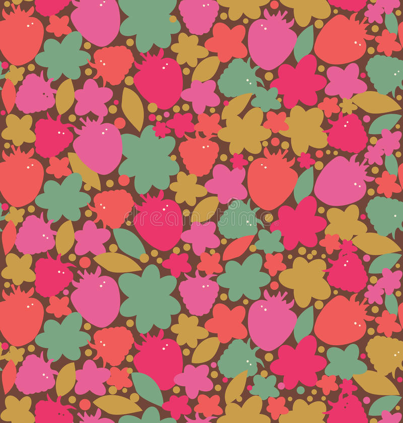 Bezszwowy kwiecisty tło z jagodami, kwiaty,  ilustracji