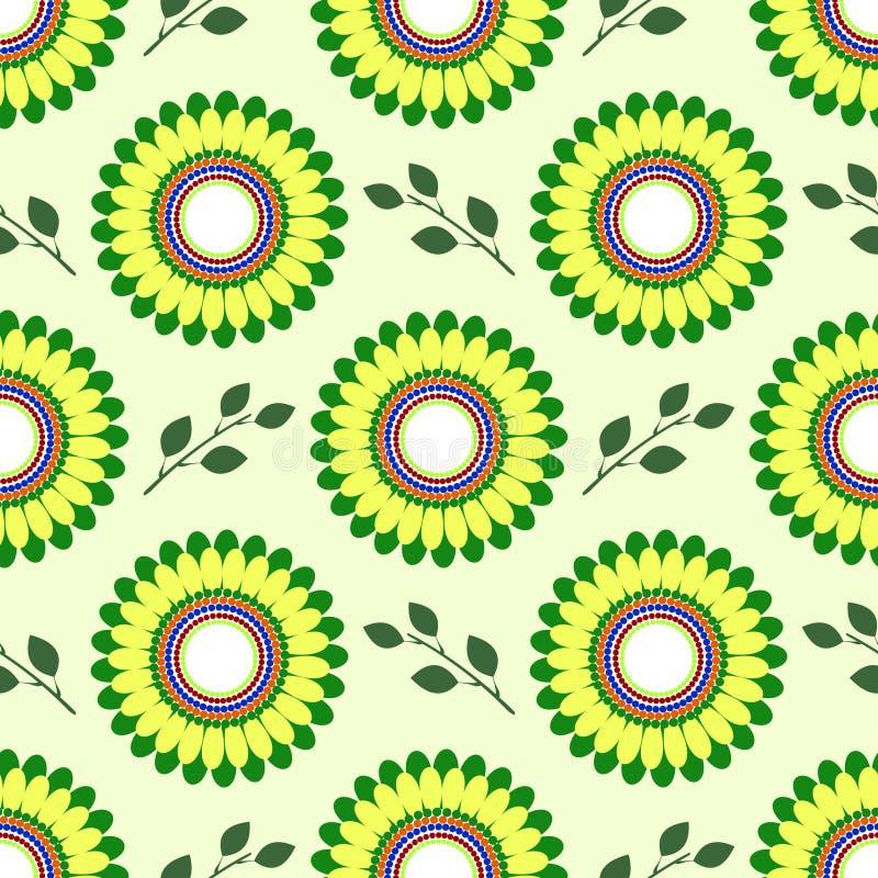 Bezszwowy kwiecisty wektoru wzór, symetryczny tło z kolorów żółtych kwiatami i zieleń liście nad lekkim tłem, ilustracja wektor