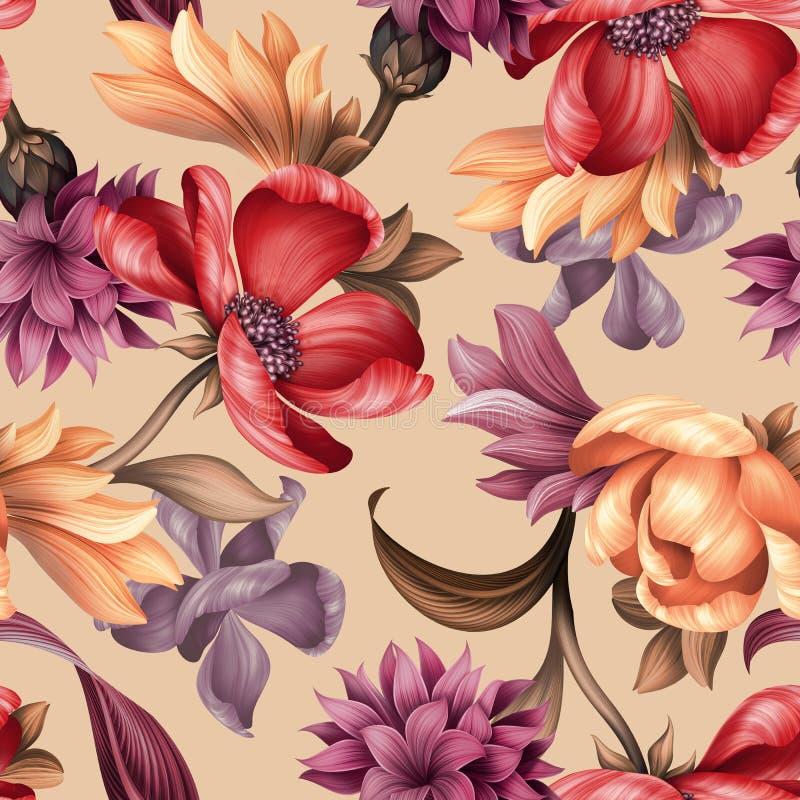 Bezszwowy kwiecisty wzór, dzikie czerwone purpury kwitnie, botaniczna ilustracja, kolorowy tło, tekstylny projekt obrazy stock