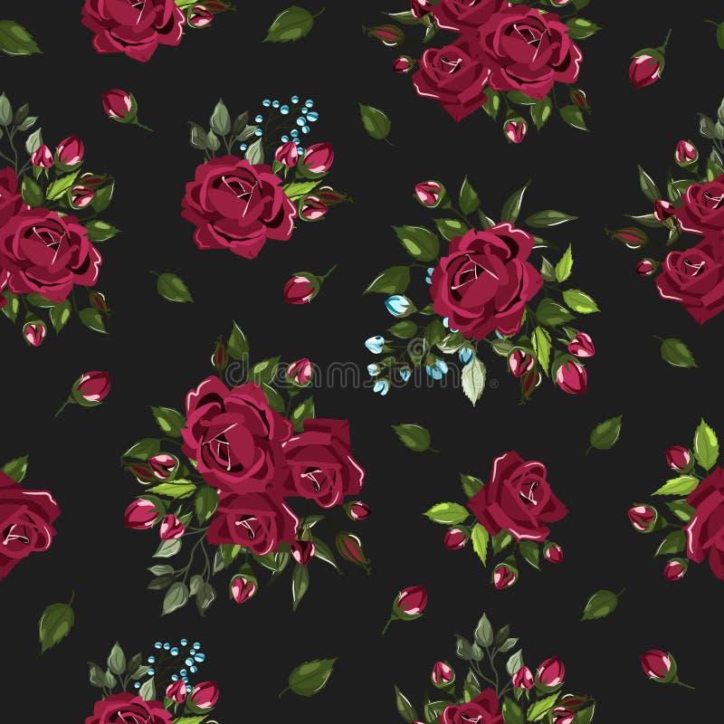 Bezszwowy kwiecisty wzór z bordo Burgundy wzrastał kwiatów bukiety ilustracja wektor