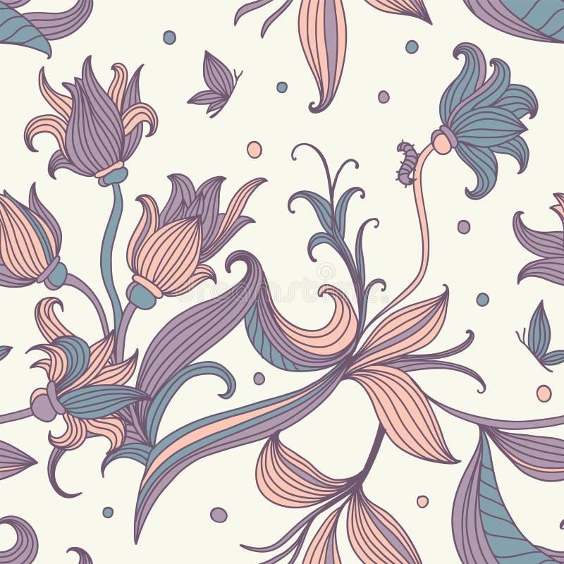 Bezszwowy kwiecisty wzór ilustracji