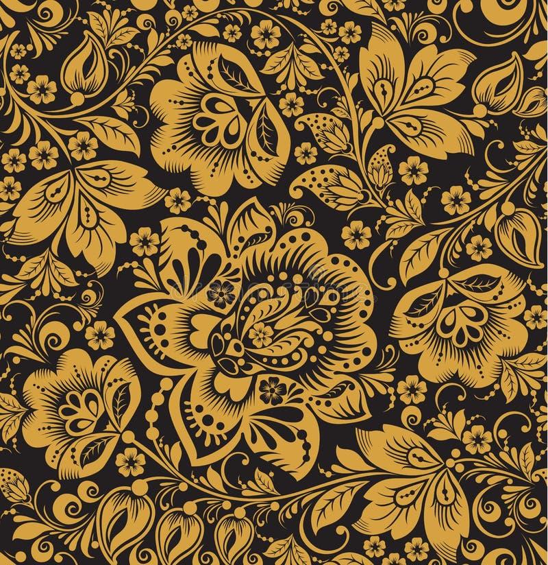 Bezszwowy kwiecisty wzór. Beż kwitnie na złocistym tle. royalty ilustracja