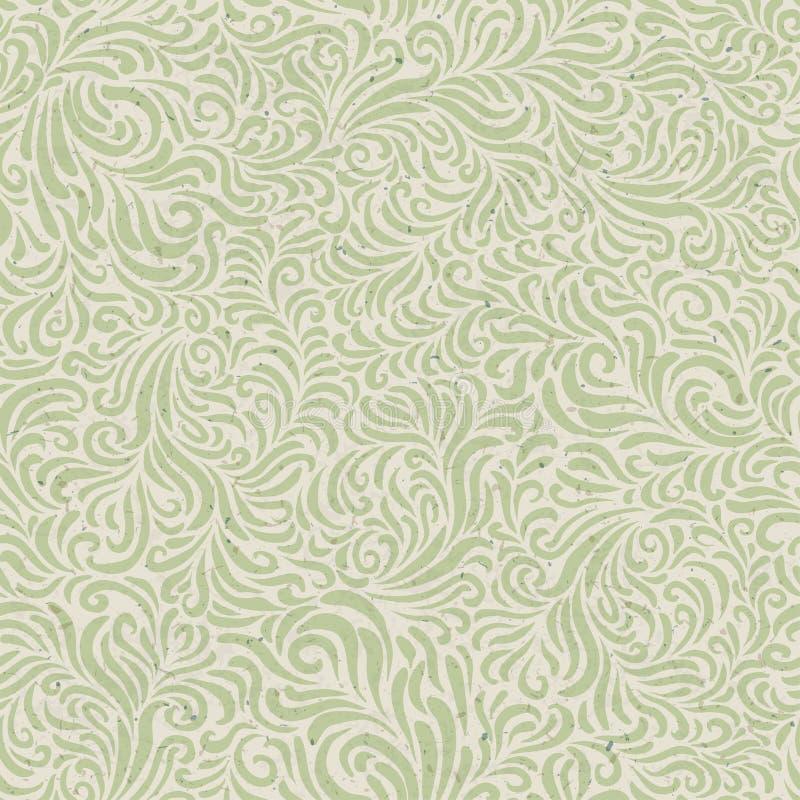 Bezszwowy kwiecisty wzór na przetwarzającej papierowej teksturze royalty ilustracja