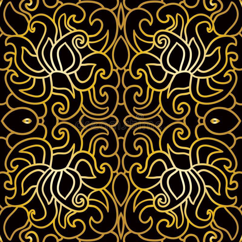 Bezszwowy kwiecisty wzór w art deco stylu ilustracji
