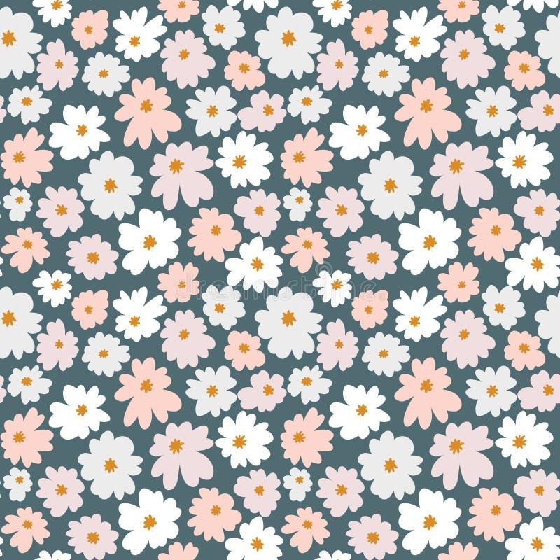 Bezszwowy kwiecisty wzór w doodle stylu z kwiatami Ręka rysujący druk w pastelowych kolorach royalty ilustracja