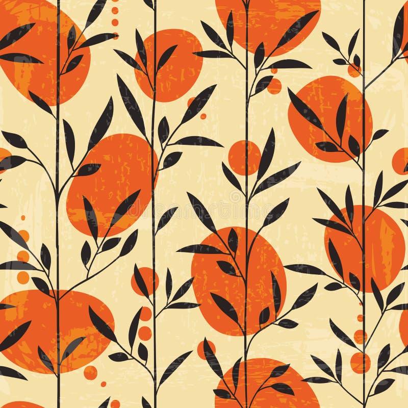 Bezszwowy kwiecisty wzór w japońskim stylu ilustracja wektor