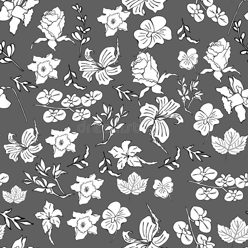 Bezszwowy kwiecisty wzór w wektorze z pięknym storczykowym kwiatem ilustracja wektor