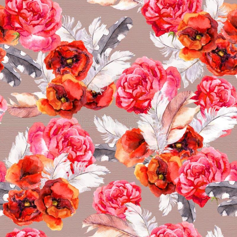 Bezszwowy kwiecisty wzór z akwarelą kwitnie i upierza akwarela ilustracji
