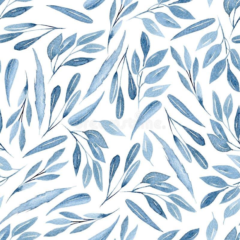 Bezszwowy kwiecisty wzór z akwareli błękitem rozgałęzia się z liśćmi ilustracja wektor