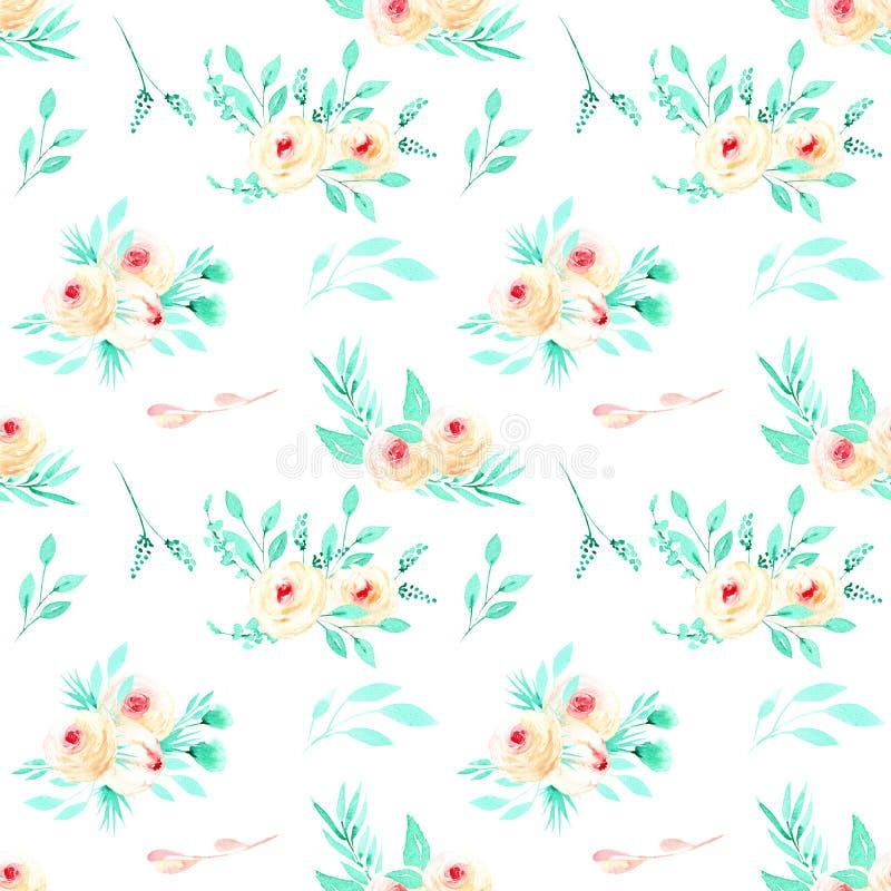 Bezszwowy kwiecisty wzór z akwareli menchii różami i nowymi ziele bukietami ilustracji
