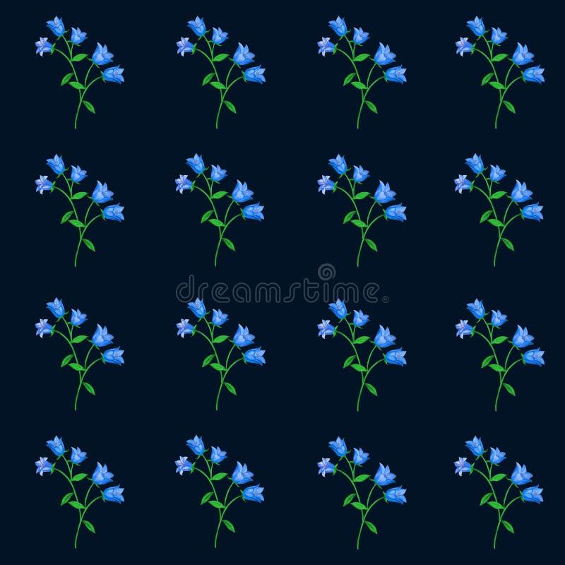 Bezszwowy kwiecisty wzór z błękitnymi dzwonami na czarnym tle ilustracji