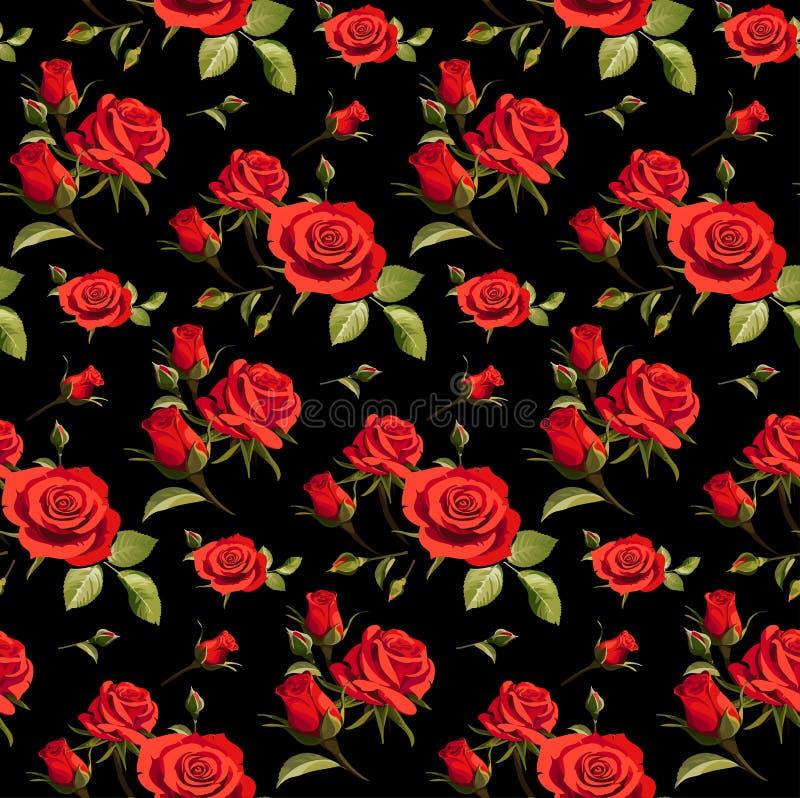 Bezszwowy kwiecisty wzór z czerwonymi różami na czarnym tle royalty ilustracja