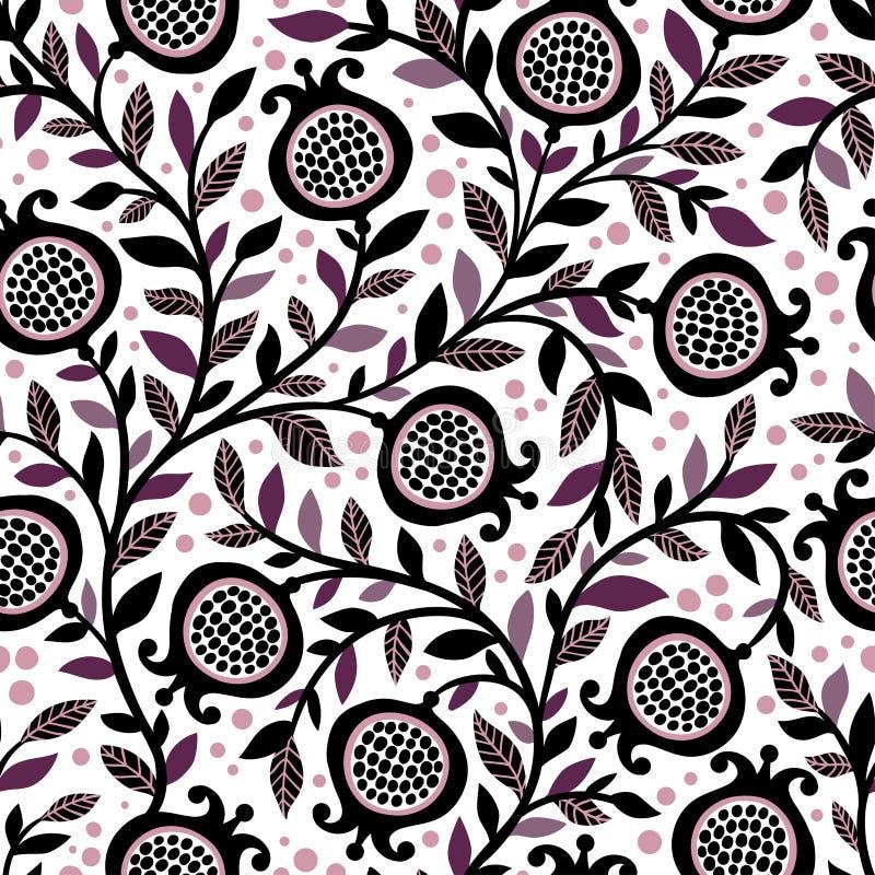 Bezszwowy kwiecisty wzór z dekoracyjnymi granatowiec owoc, liśćmi i ilustracja wektor