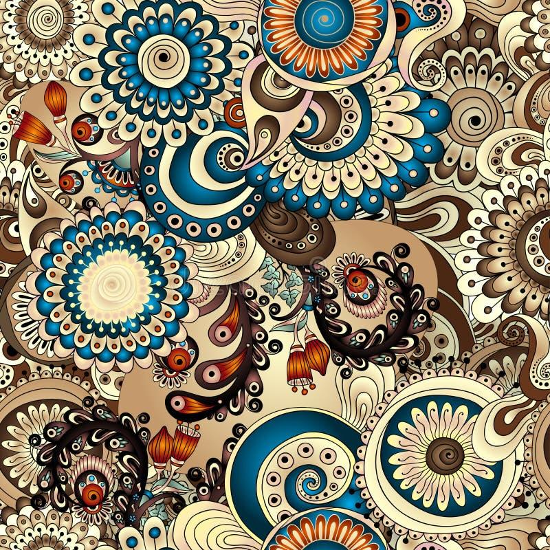 Bezszwowy kwiecisty wzór z doodles i ogórkami ilustracja wektor