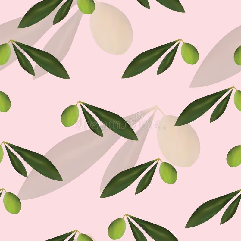 Bezszwowy kwiecisty wzór z drzewami oliwnymi wektorowymi na różowym tle ilustracja wektor
