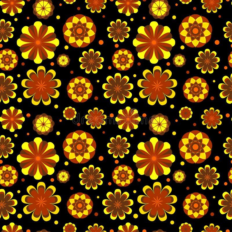 Bezszwowy kwiecisty wzór z geometrycznymi stylizowanymi kwiatami. royalty ilustracja