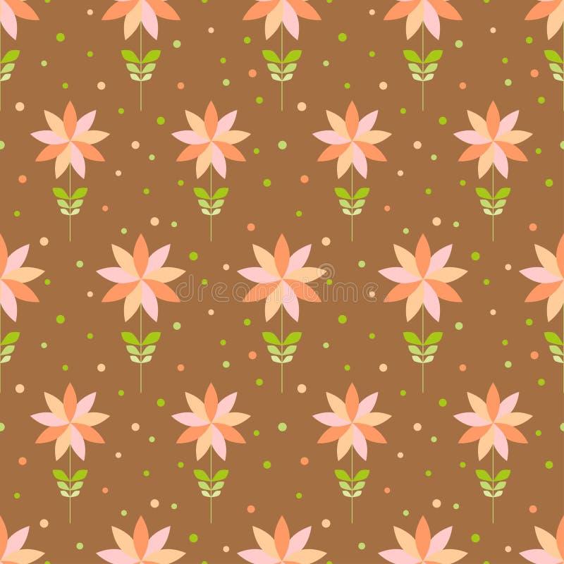 Bezszwowy kwiecisty wzór z geometrycznymi stylizowanymi kwiatami. ilustracja wektor