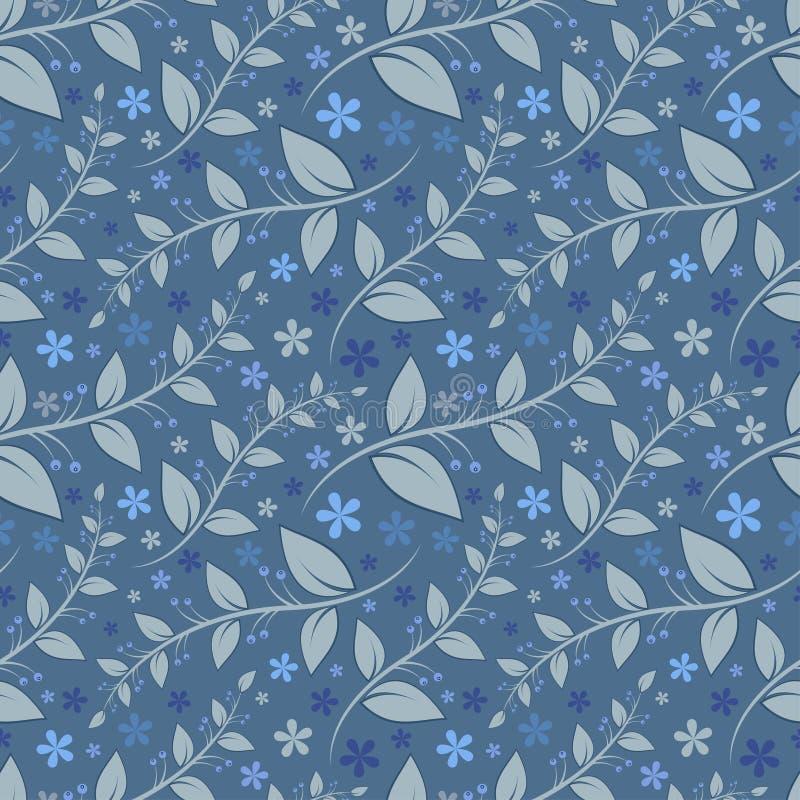 Bezszwowy kwiecisty wzór z geometrycznymi stylizowanymi liśćmi i kwiatami. ilustracji