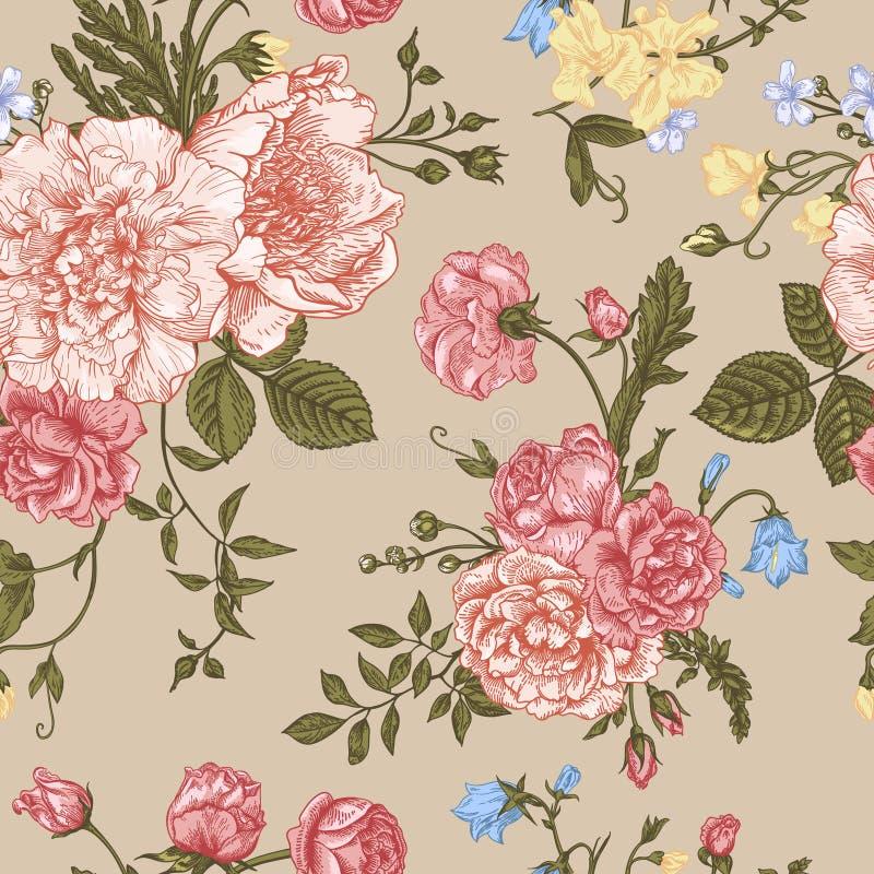 Bezszwowy kwiecisty wzór z kolorowymi kwiatami ilustracji