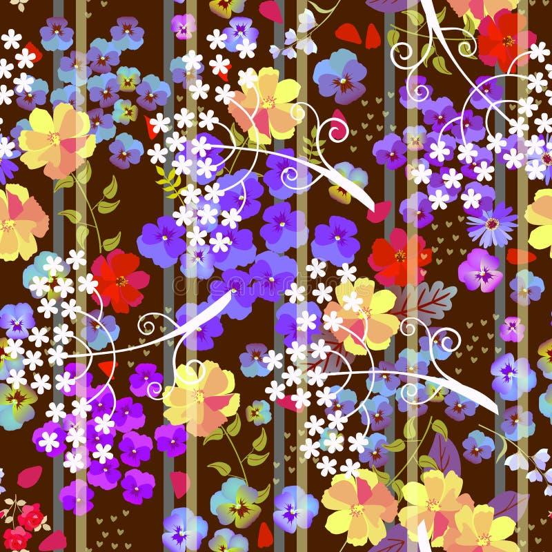 Bezszwowy kwiecisty wz?r z pansy, kwiaty i ciency paski na ciemnego br?zu tle, kosmosu i parasola Modny druk royalty ilustracja