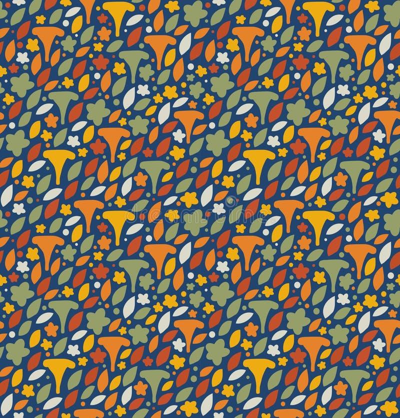 Bezszwowy kwiecisty wzór z pieczarkami, kwiatami i liśćmi, Natury śliczny tło ilustracja wektor