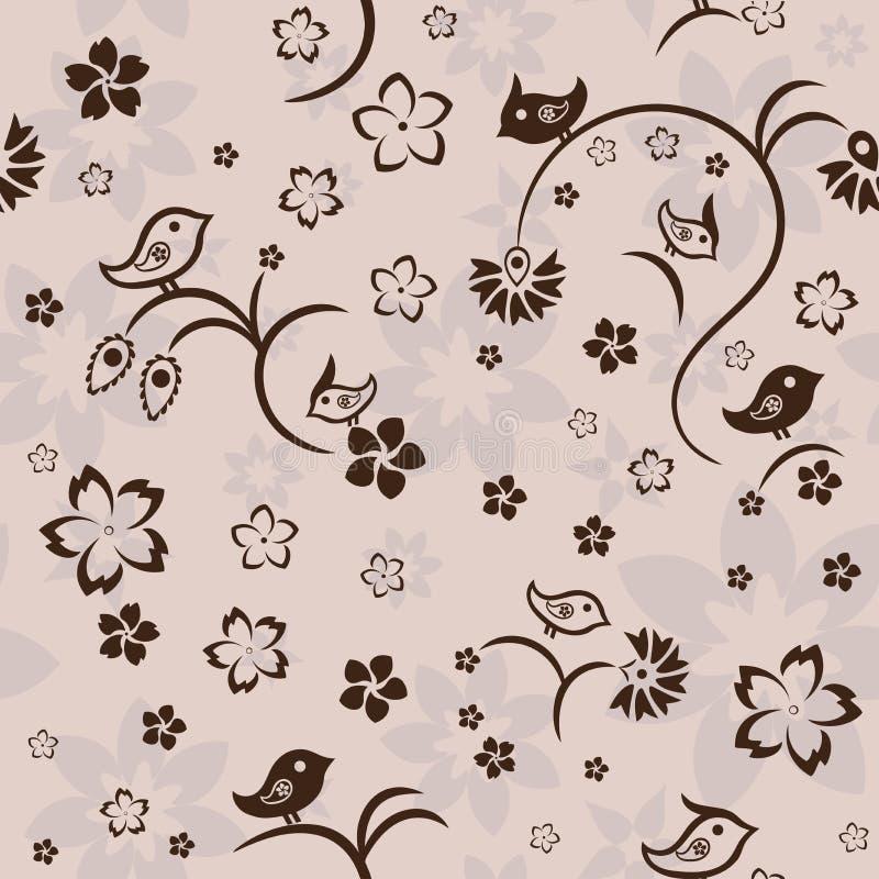 Bezszwowy kwiecisty wzór z ptakami na beżowym tle, wektor ilustracji