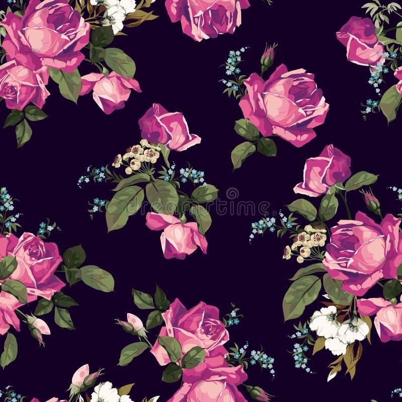 Bezszwowy kwiecisty wzór z różowymi różami na ciemnym tle ilustracja wektor