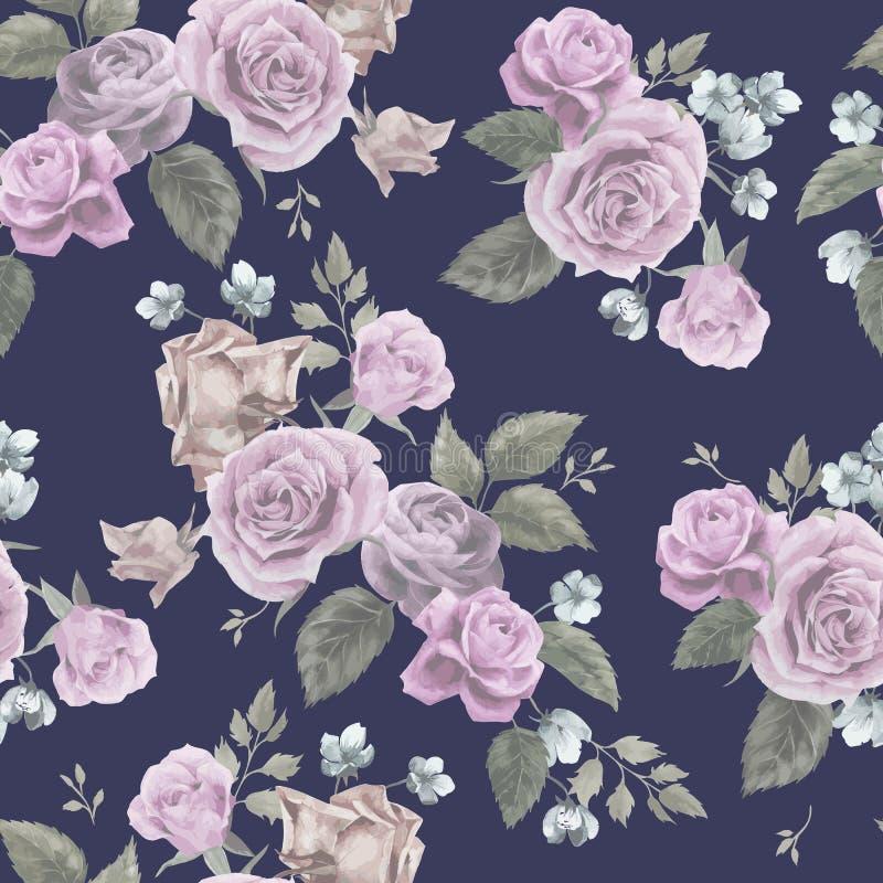 Bezszwowy kwiecisty wzór z różowymi różami na ciemnym tle, wate royalty ilustracja