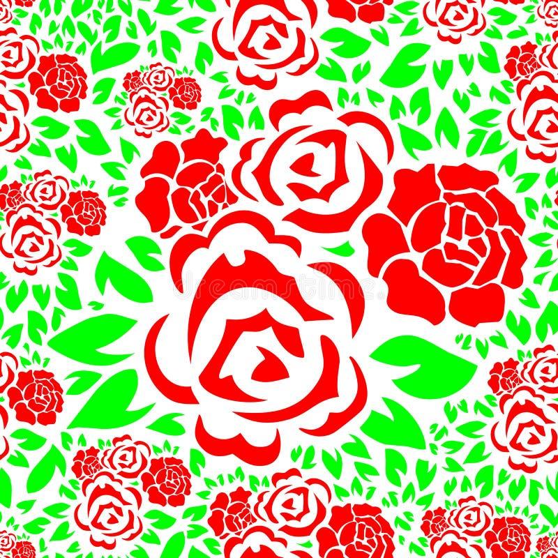 Bezszwowy Kwiecisty wzór z rewolucjonistki róży kwiatem i zieleń liści tłem ilustracji