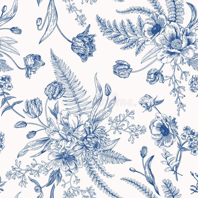 Bezszwowy kwiecisty wzór z wiosna kwiatami royalty ilustracja