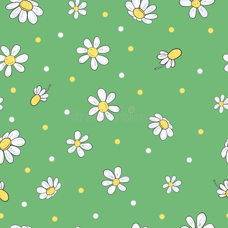 Bezszwowy kwiecisty wz?r z chamomile kwiatami royalty ilustracja