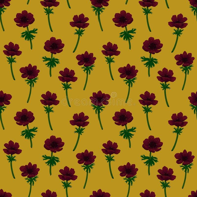 bezszwowy kwiecisty wzoru Czerwony anemonu wzór na musztarda koloru żółtego tle Kolor ołówkowa cyfrowa ilustracja dla ilustracja wektor