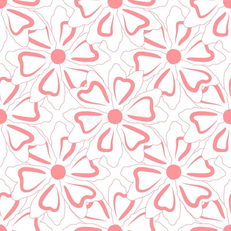 bezszwowy kwiecisty wzoru Kontury prosty abstrakcjonistyczny kwiat ilustracji