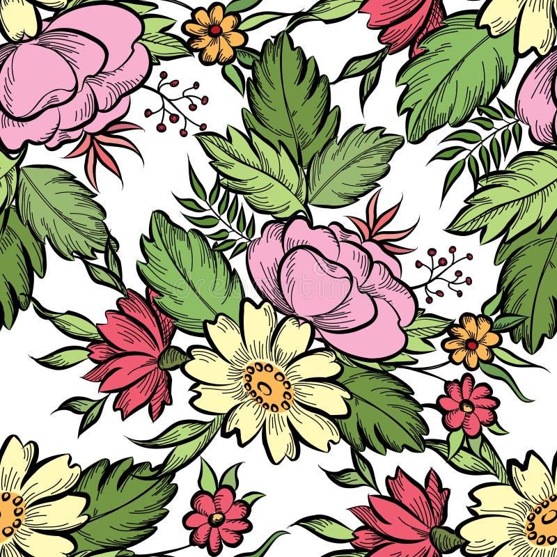 bezszwowy kwiecisty wzoru kwiat światła playnig tło Kwiecista dachówkowa wiosna t royalty ilustracja