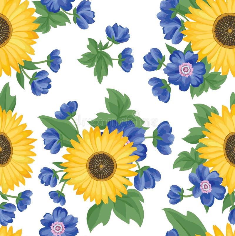 bezszwowy kwiecisty wzoru kwiat światła playnig tło Kwiecisty dachówkowy ornament ilustracja wektor