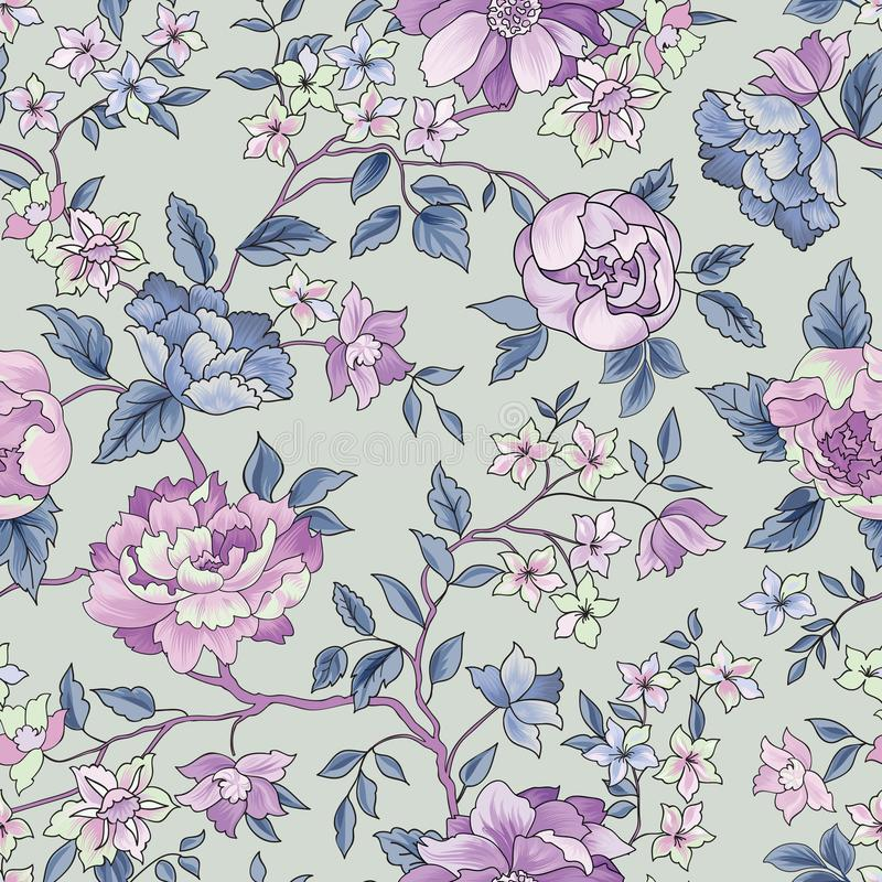 bezszwowy kwiecisty wzoru kwiat światła playnig tło Ornamentacyjny ogród fl ilustracji